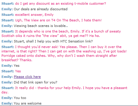 More of my chat with T-Mobile's Emily