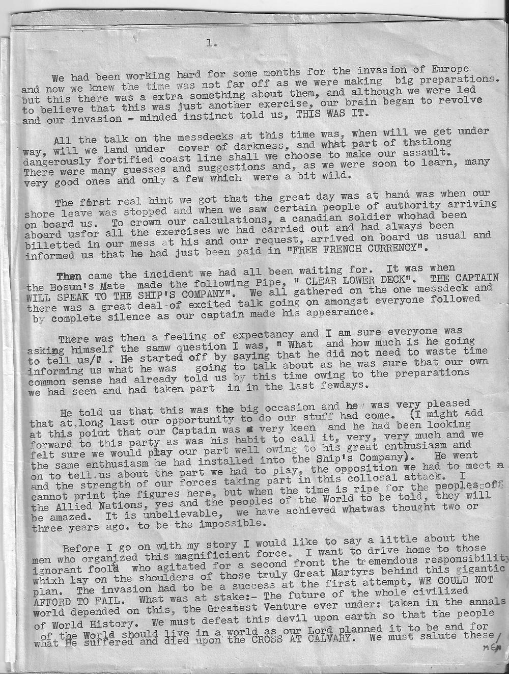 Bill Honeyman D-Day letter page 1