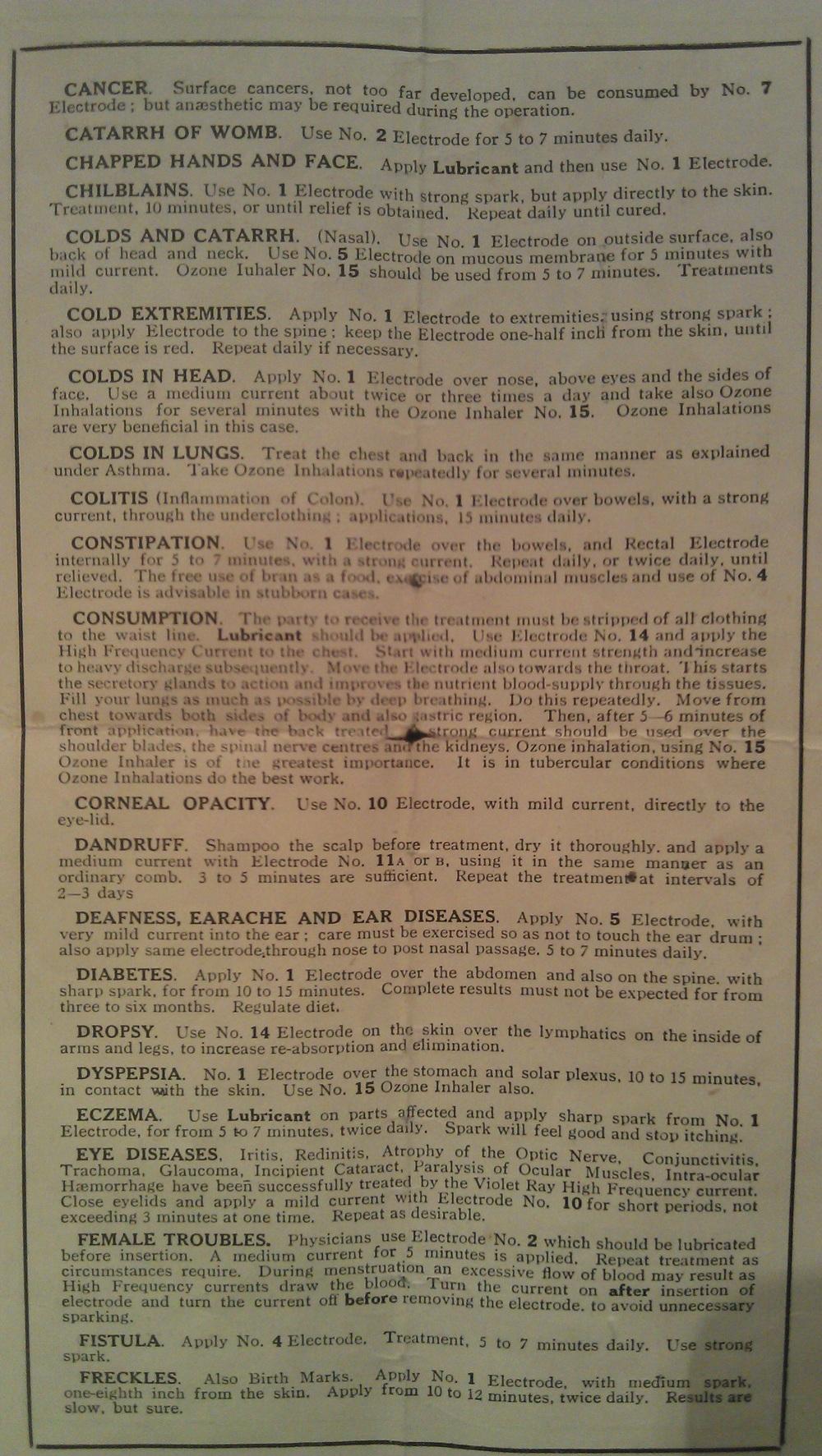 Dalbeattie museum cure-all machine treatment chart