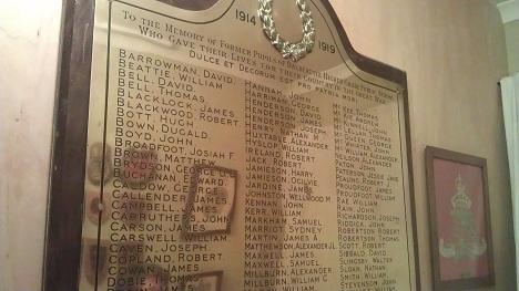 Dalbeattie museum: World War I school memorial