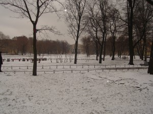 St Petersburg park in the snow