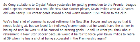 New Star Soccer retirement discussion - Facebook